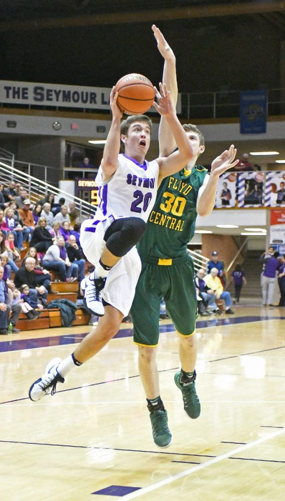 Seymour's Alan Perry shoots the ball during Seymour's game against Floyd Central.