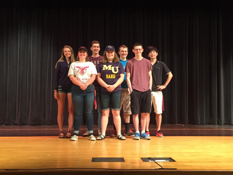 From left: Chloe Bryden, Abby Wheeler, Jason Walker, Morgan Boas, Josiah Massengale, Dustin Morris,  Shosei Ando