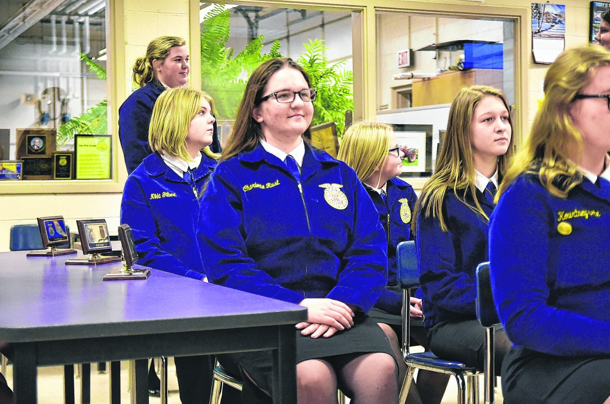 Charlotte Rust participates in a Seymour FFA parliamentary procedure practice.