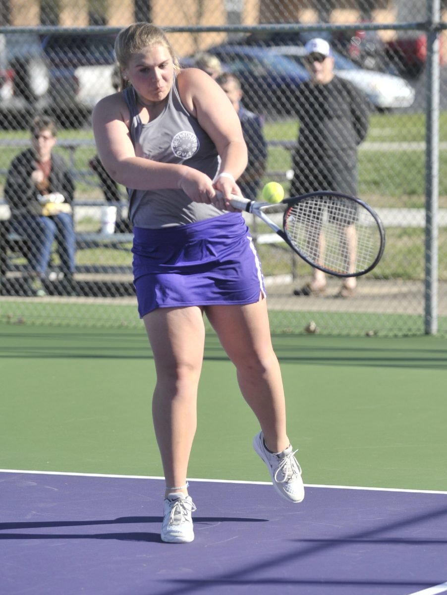 Tribune Photo by Jeff Lubker/ Seymour's Peyton Levine hits a shot during a match against Scottsburg on Tuesday.
