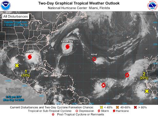 Five Tropical Storms in the Atlantic Ocean